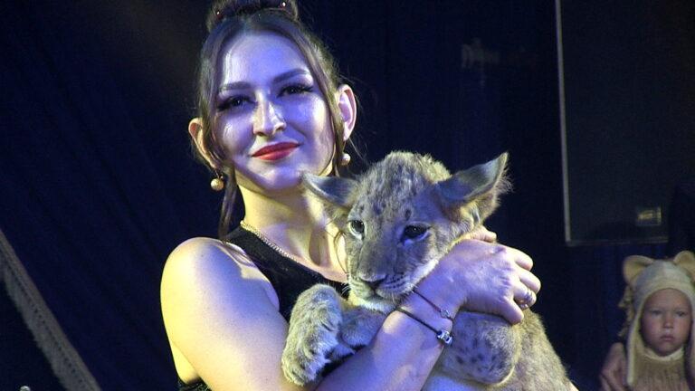 Спасенный от контрабандистов львенок впервые вышел на арену цирка
