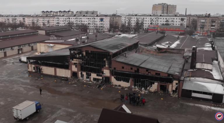 Последствия страшного пожара на Титовском рынке в Краснооктябрьском районе попали на видео