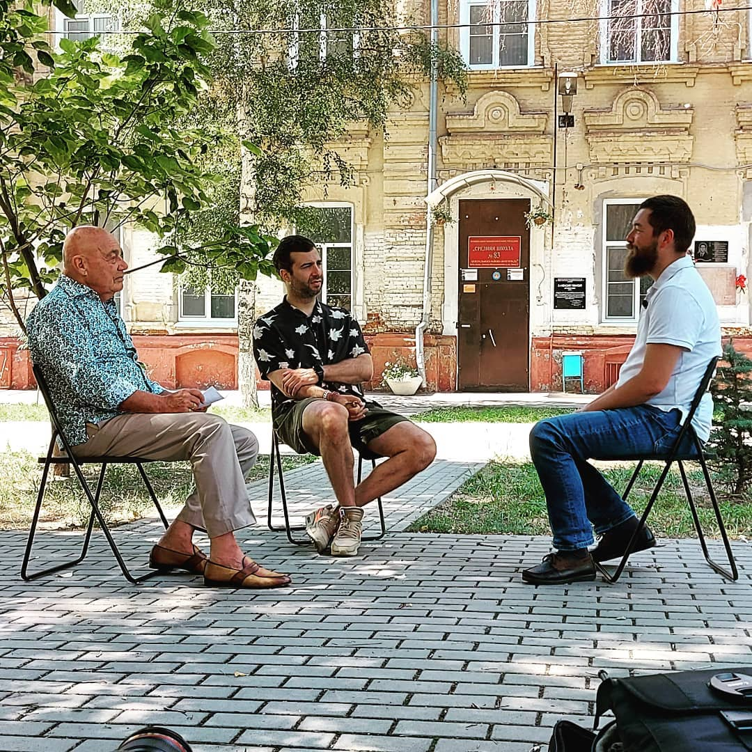 Владимир Познер и Иван Ургант снимают в Волгограде фильм о России